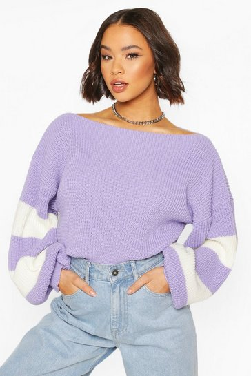 Lilac Balloon Sleeve Stripe Jumper