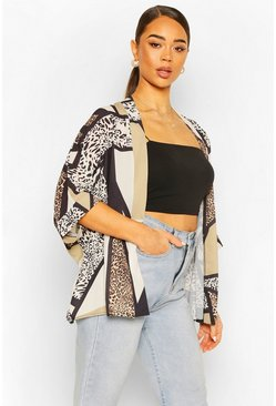 Brown Mixed Animal Print Kimono