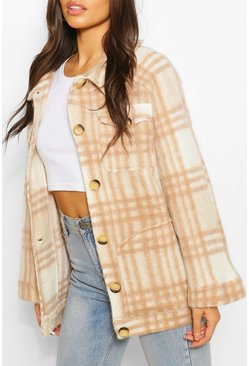 Camel beige Oversized Check Brushed Wool Jacket