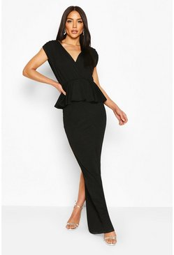 Black Pleated Shoulder Peplum Waist Maxi Dress