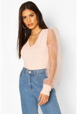 Blush pink Dobby Mesh V Neck Top