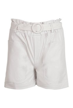Ecru Two Pocket Belted Turn Up Shorts