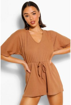 Camel Rib Oversized Slouch Playsuit