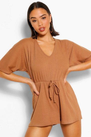 Camel beige Rib Oversized Slouch Playsuit