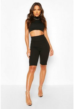 High Waist Sculpt Cycle Short, Black