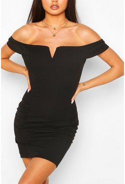 Black Off The Shoulder Mini Dress With Ruffle Sleeves