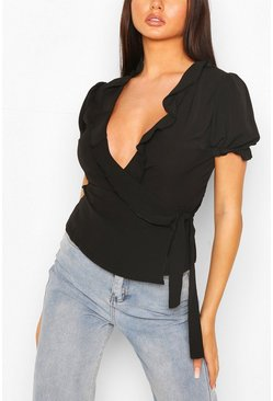 Black Wrap Front Ruffle Detail Blouse