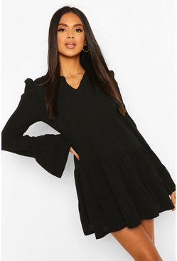 Black Tiered Smock Dress With Neck Tie
