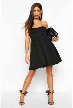 Black Bonded Scuba Babydoll Smock Dress