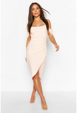 Peach orange Off The Shoulder Corset Wrap Midi Dress