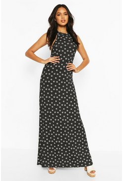 Black Halter Neck Daisy Print Maxi Dress
