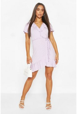 Lilac purple Polka Dot Wrap Front Ruffle Tea Dress