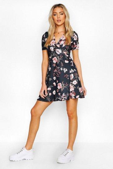 Black Wrap Floral Skater Dress