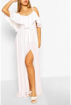 White Cheesecloth Belted Maxi Dress