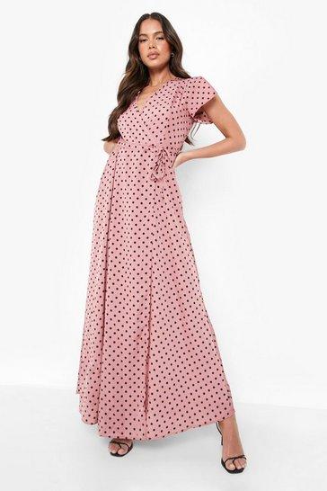 Coral pink Polka Dot Wrap Tee Maxi Dress