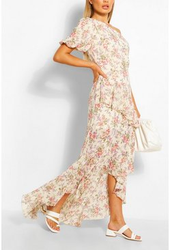 Pink Floral Puff One Shoulder Ruffle Maxi Dress