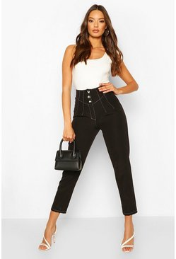 Black Contrast Stitch Corset Trouser