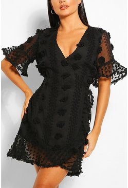 Black Dobby Ruffle Tea Dress