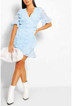 Powder blue Dobby Ruffle Tea Dress