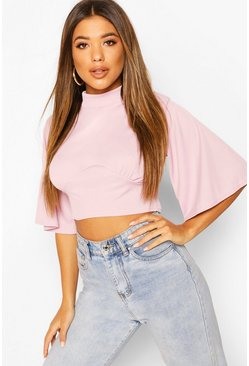 Lilac purple Top Met Engelen Mouwen En Turtle Neck