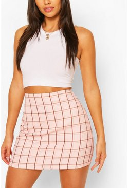 Pink rosa Pastel Check A Line Mini Skirt