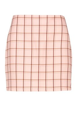 Pink Pastel Check A Line Mini Skirt