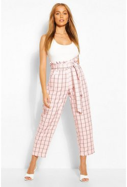 Pink Pastel Check Paperbag Waist Tailored Trouser