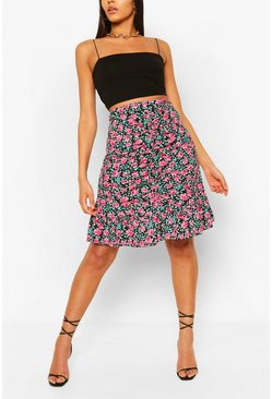 Black Floral Ruched Front Mini Skirt