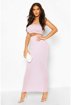 Lilac purple Basic Bodycon Maxi Skirt