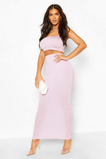 Lilac Basic Bodycon Midaxi Skirt