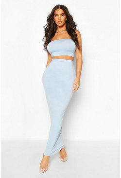 Pale blue blue Basic Bodycon Maxi Skirt