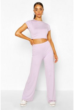 Lilac purple High Waist Wide Leg Trouser