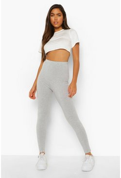 Grey grå Basic leggings med hög midja