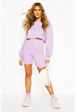 Lilac purple Long Line Loopback Boyfriend Shorts