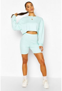 Mint green Long Line Loopback Boyfriend Shorts