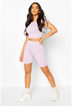 Lilac purple High Waist Cycling Shorts