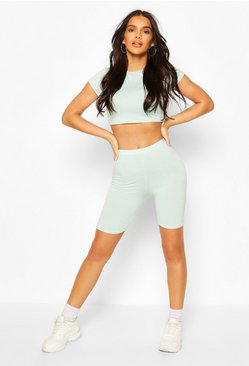 Mint green High Waist Biker Shorts