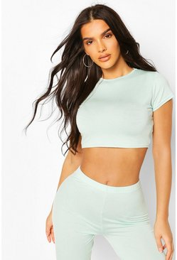 Mint green Crew Neck Cap Sleeve Crop Top