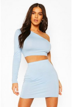 Pale blue blue One Shoulder Crop Top