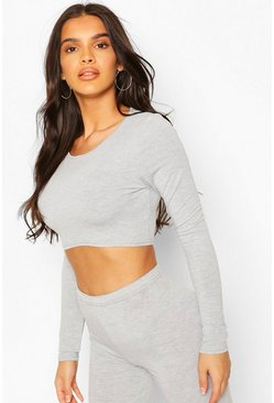 Grey Crew Neck Long Sleeved Crop Top
