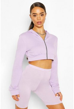 Lilac purple Zip Through Cropped Hoodie