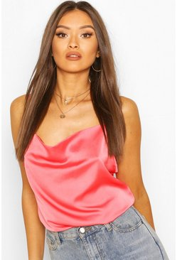 Coral pink Cowl Neck Cami Top  BLACK 10