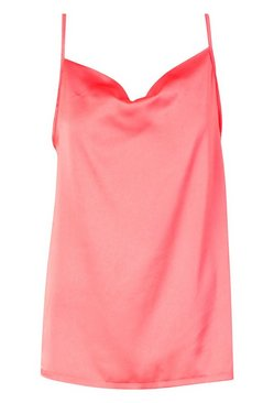 Coral Cowl Neck Cami Top  BLACK 10