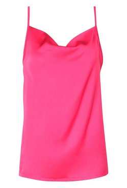 Fuchsia Cowl Neck Cami Top  BLACK 10