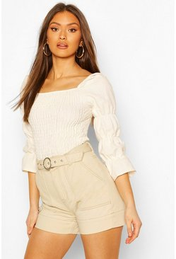 White Linen Shirred Ruched Sleeve Top