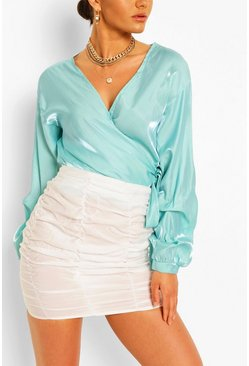 Blue Metallic Puff Sleeve Wrap Blouse