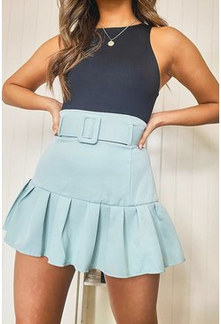 Sage green Belted Drop Hem Mini Skirt