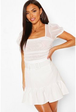 White Belted Drop Hem Mini Skirt