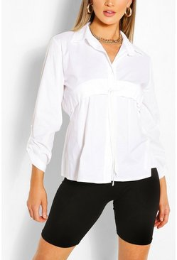 White Ruched Detail Oversized Shirt