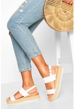 White Double Strap Espadrille Flatforms
